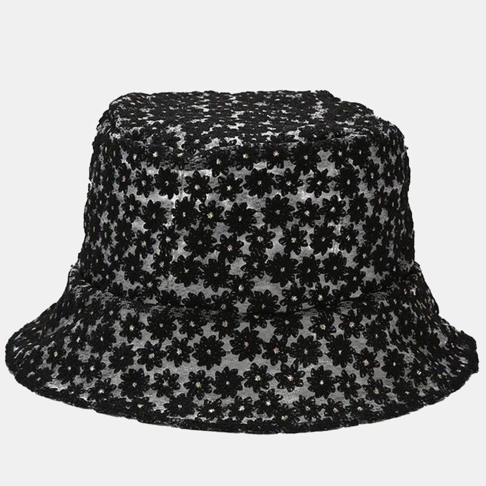Flower Embroidery Fisherman Hat tTravel Sunscreen Buket Hat Breathable Sun Hat