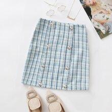 Double Button Tartan Tweed Skirt