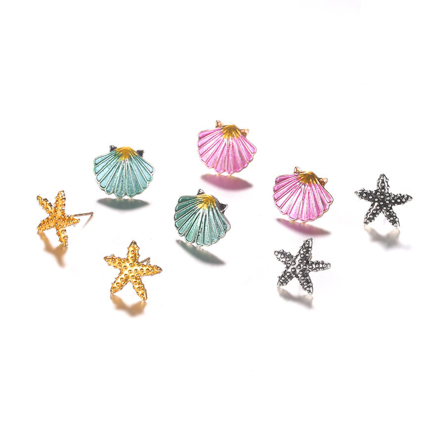 Fashion 4 Pcs Colorful Seashell Starfish Earrings Sandy Beach Cute Earrings Set Gift for Women