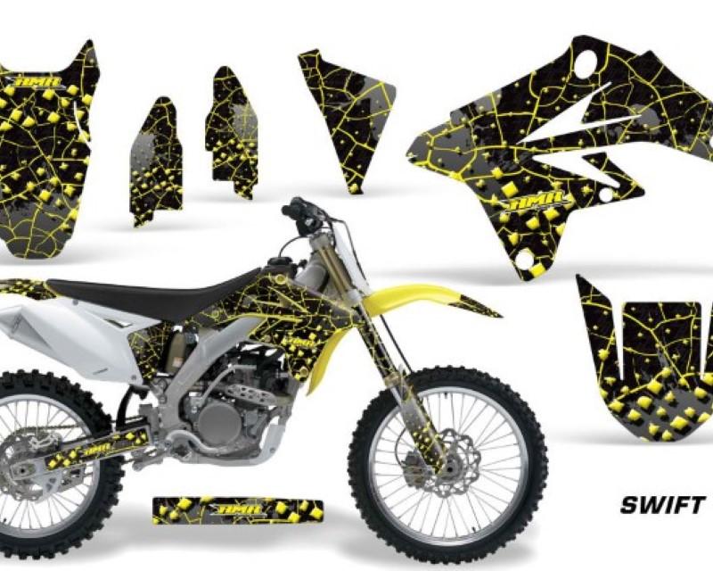AMR Racing Dirt Bike Graphics Kit Decal Sticker Wrap For Suzuki RMZ250 2007-2009áSWIFT YELLOW BLACK