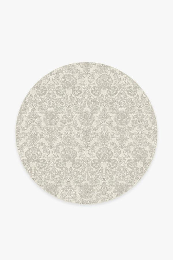 Washable Rug Cover & Pad | Mickey Damask Light Grey Rug | Stain-Resistant | Ruggable | 6 Round