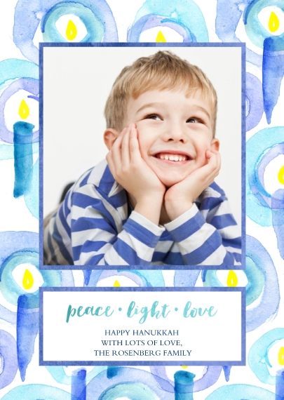Hanukkah Photo Cards 5x7 Folded Cards, Premium Cardstock 120lb, Card & Stationery -Peace Light and Love