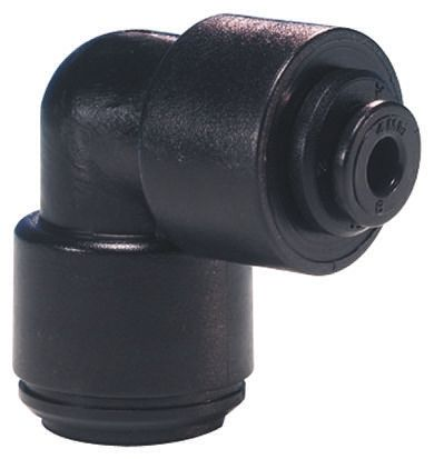 John Guest Pneumatic Elbow Tube-to-Tube Adapter Push In 12 mm to Push In 8 mm