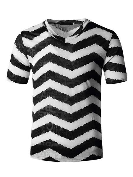 Milanoo T Shirts V Neck Zigzag Wavy Stripe Print Short Sleeves Tee Tops