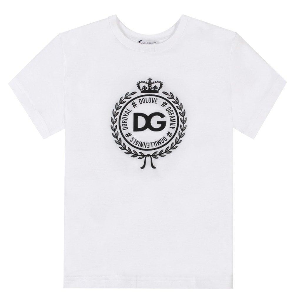 Dolce & Gabbana Kids Royal Emblem Logo T-Shirt White Colour: WHITE, Size: 12 YEARS