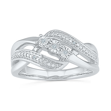 Womens Diamond Accent Genuine White Diamond Sterling Silver Crossover Cocktail Ring, 8 1/2 , No Color Family