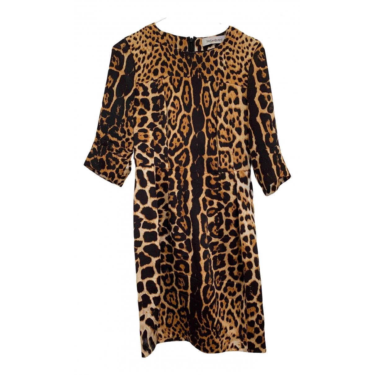 Yves Saint Laurent \N Kleid in  Gold Seide