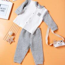 Baby Boy Elephant Print Button Front Jacket & Sweatpants