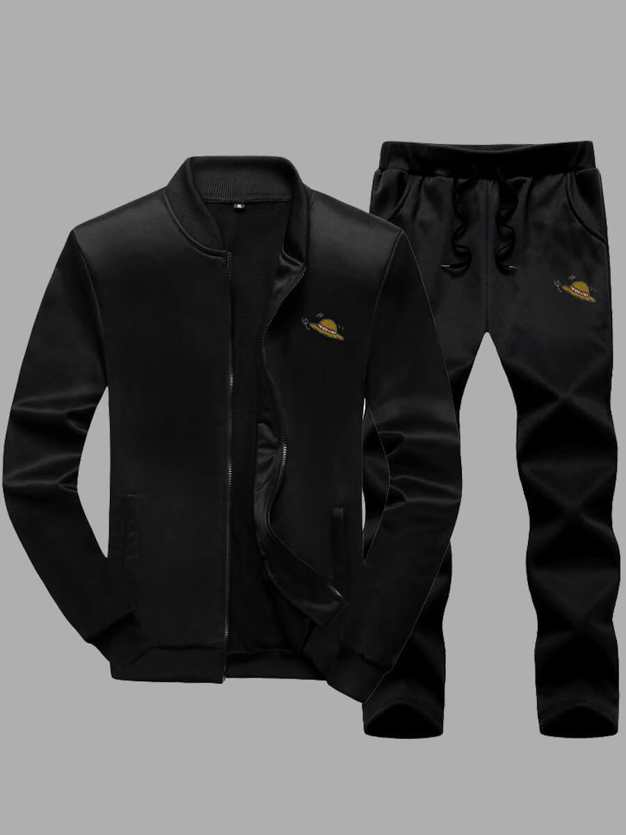 LW Lovely Casual Mandarin Collar Zipper Design Black Men Two-piece Pants Set