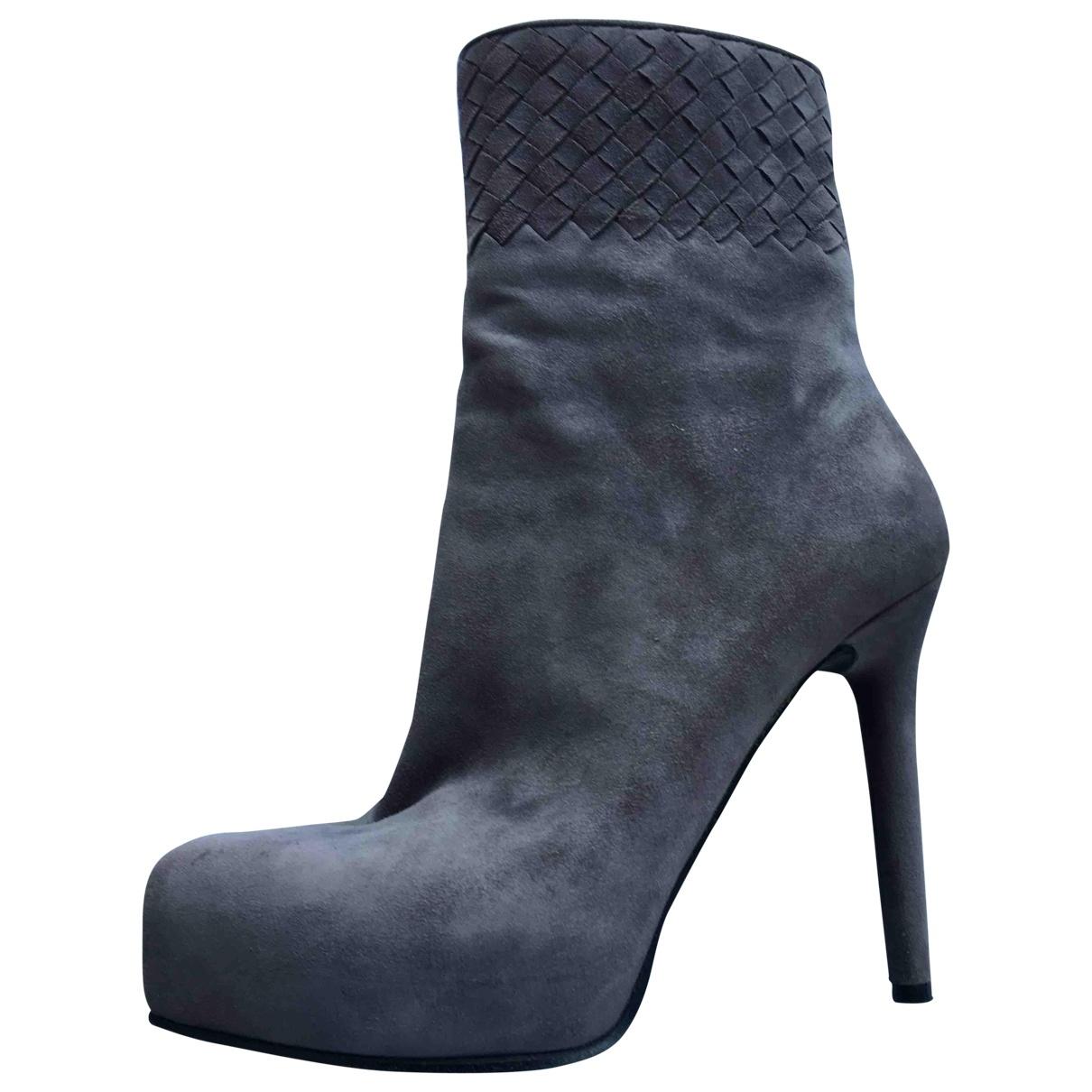 Bottega Veneta \N Anthracite Suede Boots for Women 38.5 EU