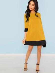 Contrast Trim Tunic Dress