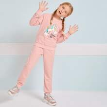 Conjunto pullover con estampado de unicornio de manga raglan con joggers