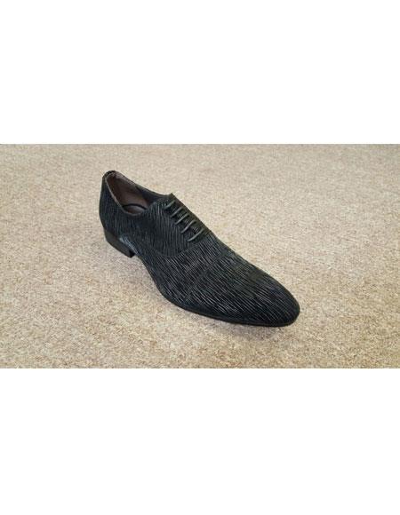 Mens Man Made Black on Black Texture Pattern Leather LaceUp Zota Shoe