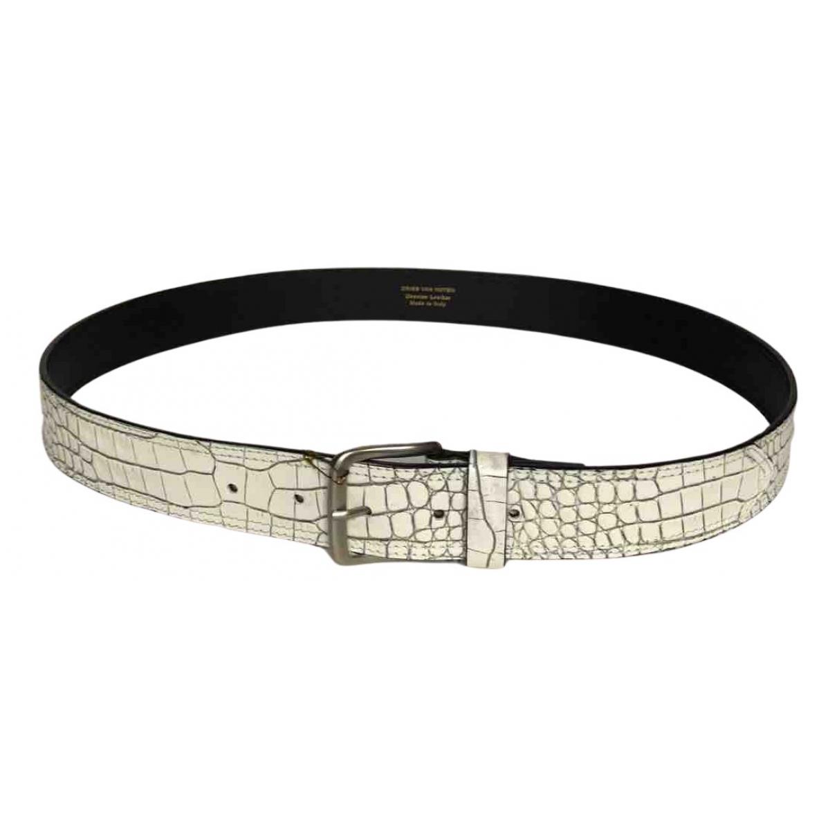 Dries Van Noten N White Leather belt for Men 90 cm