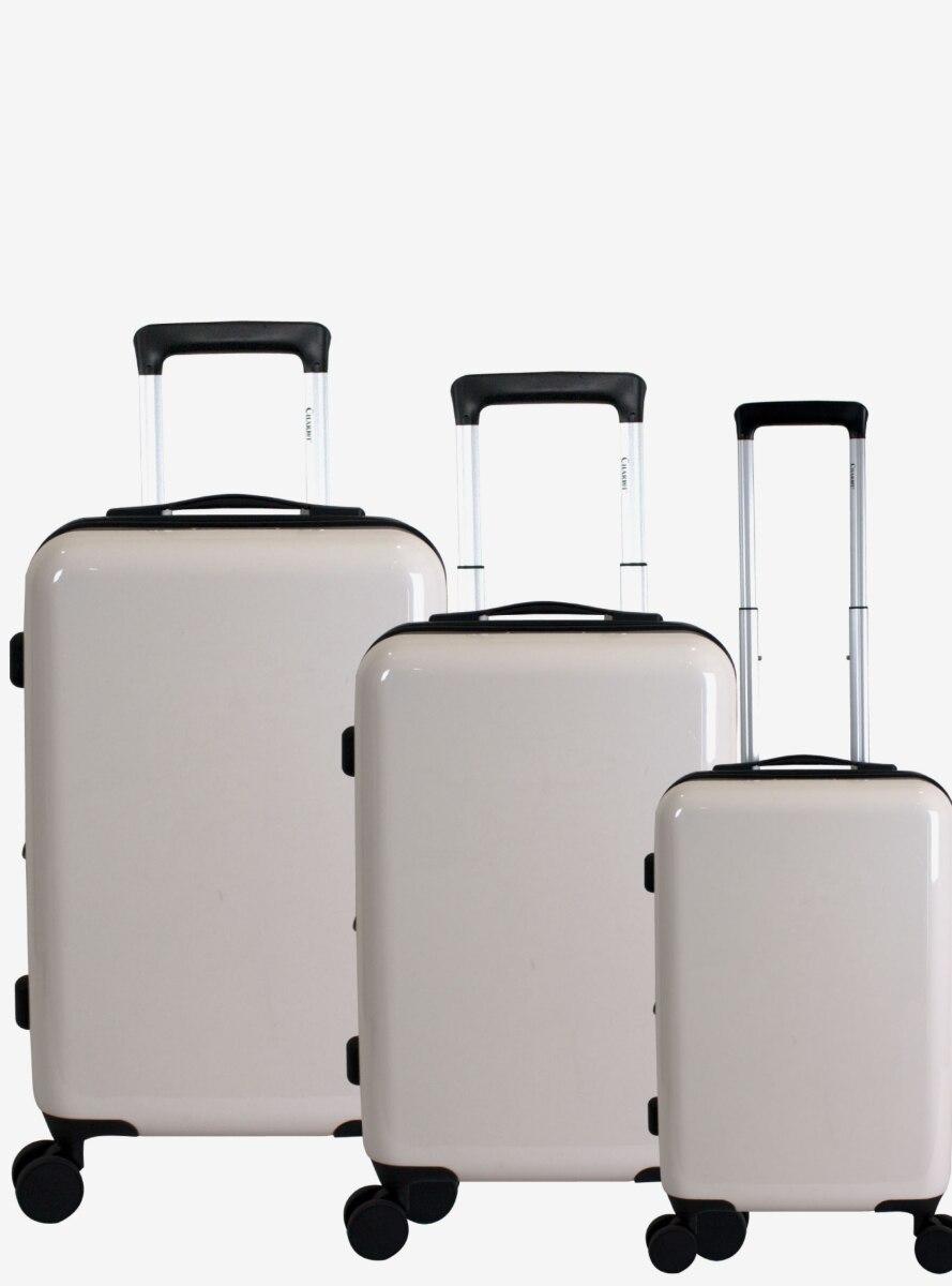 Blank Slate Hard Sided 3 Pc White Luggage Set