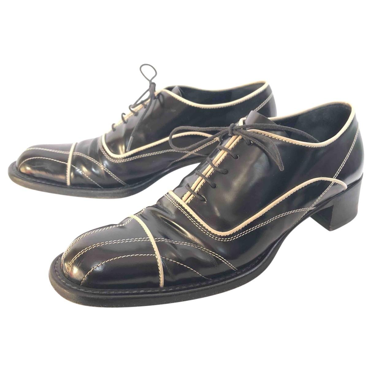Prada \N Black Leather Lace ups for Women 36 EU