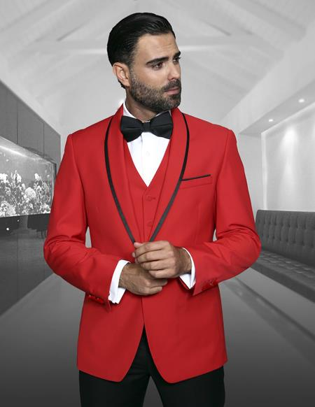Mens Blazer Dinner Jacket Sport Coat Red