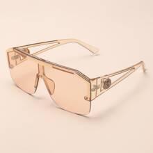 Rimless Flat Top Shield Sunglasses