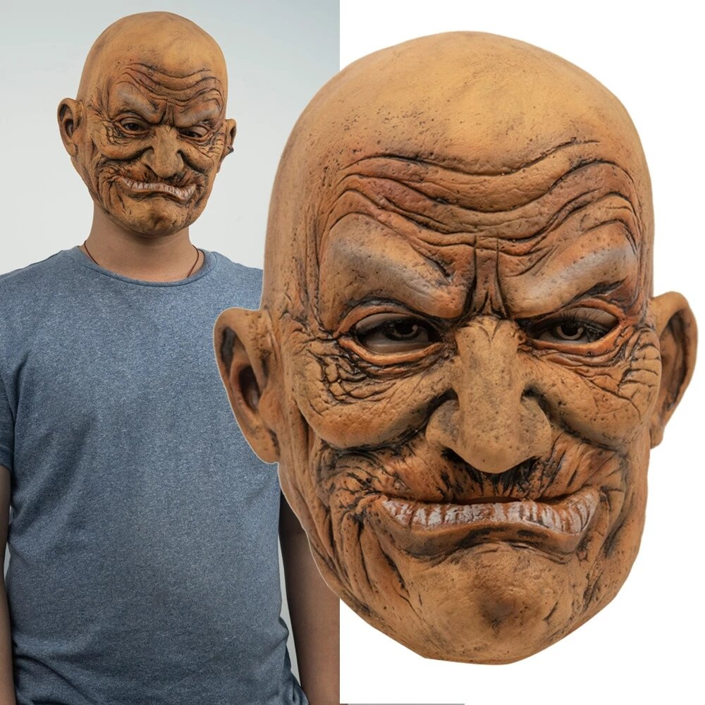 Halloween Old Man Party Mask Latex Head Rubber Adult Masks Masquerade Cosplay Props