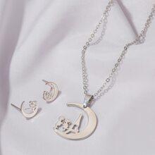 1pc Moon Pendant Necklace & 1pair Moon Shaped Earrings
