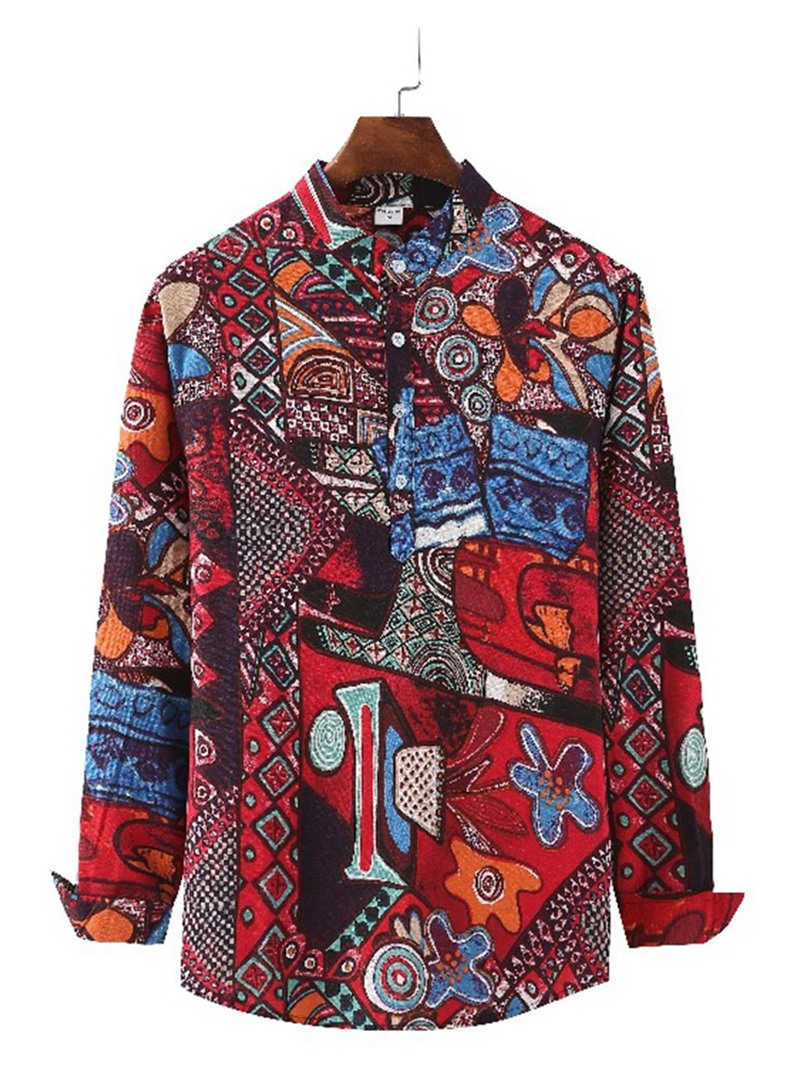 Ericdress Print Vintage Stand Collar Summer Loose Shirt