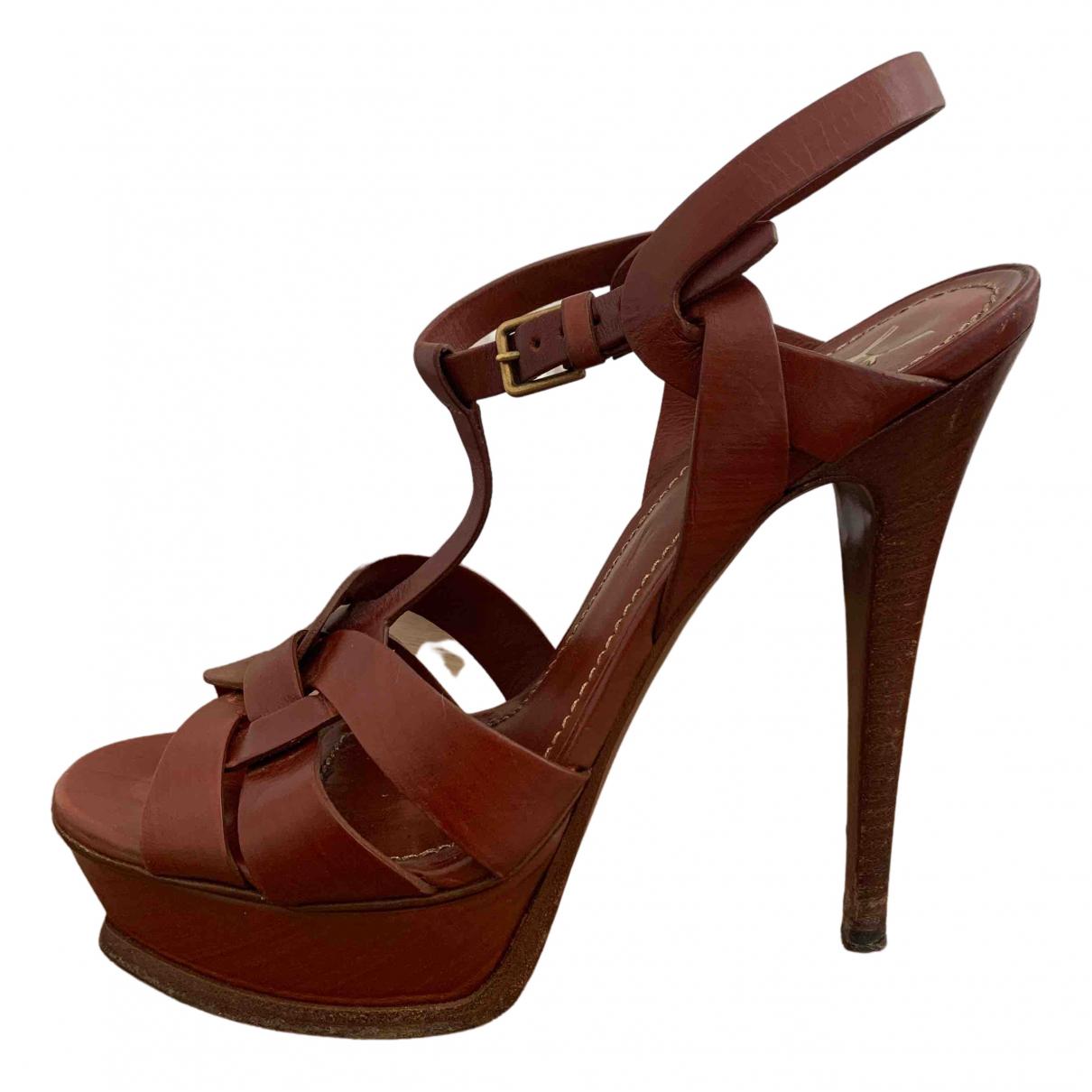 Yves Saint Laurent Tribute Brown Leather Sandals for Women 38 EU