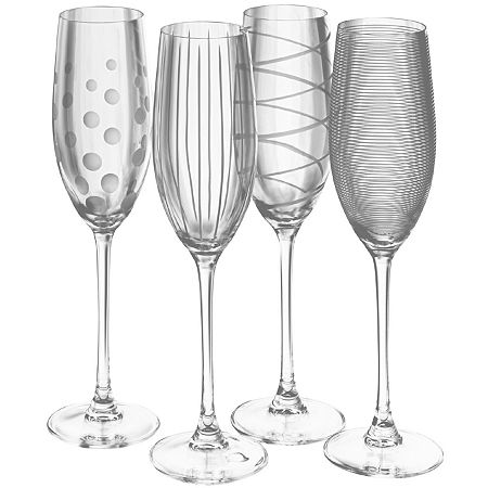 Mikasa Cheers Set of 4 Champagne Flutes, One Size , Multiple Colors