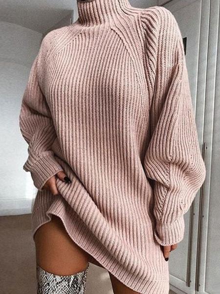 Milanoo Vestidos de punto para mujer Vestido de sueter de manga larga con cuello alto rosa