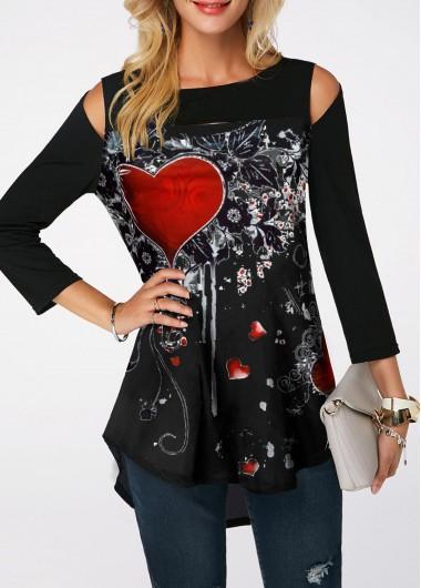 Rosewe Women Valentines Day Top Printed Cold Shoulder Dip Hem T Shirt - XL