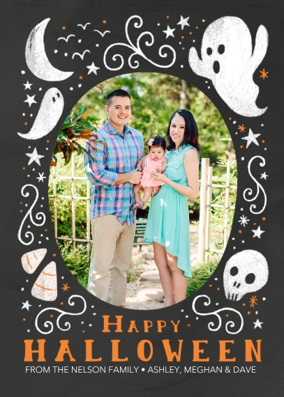 Halloween Photo Cards 5x7 Cards, Premium Cardstock 120lb, Card & Stationery -Happy Halloween Chalk Drawing