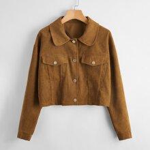 Flap Pocket Drop Shoulder Crop Corduroy Jacket