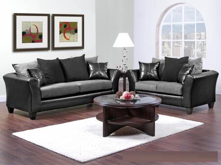 42417002SL Gamma Sofa + Loveseat with 1.5 High Density Foam  Toss Pillows  Sinuous Wire Springs and Solid Kiln Dried Hardwoods in Jefferson Black and