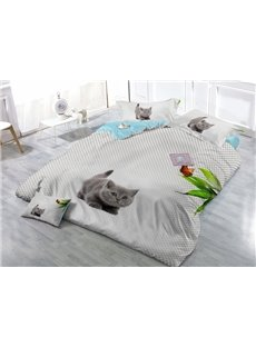 Lovely Kitty Wear-resistant Breathable High Quality 60s Cotton 4-Piece 3D Bedding Sets