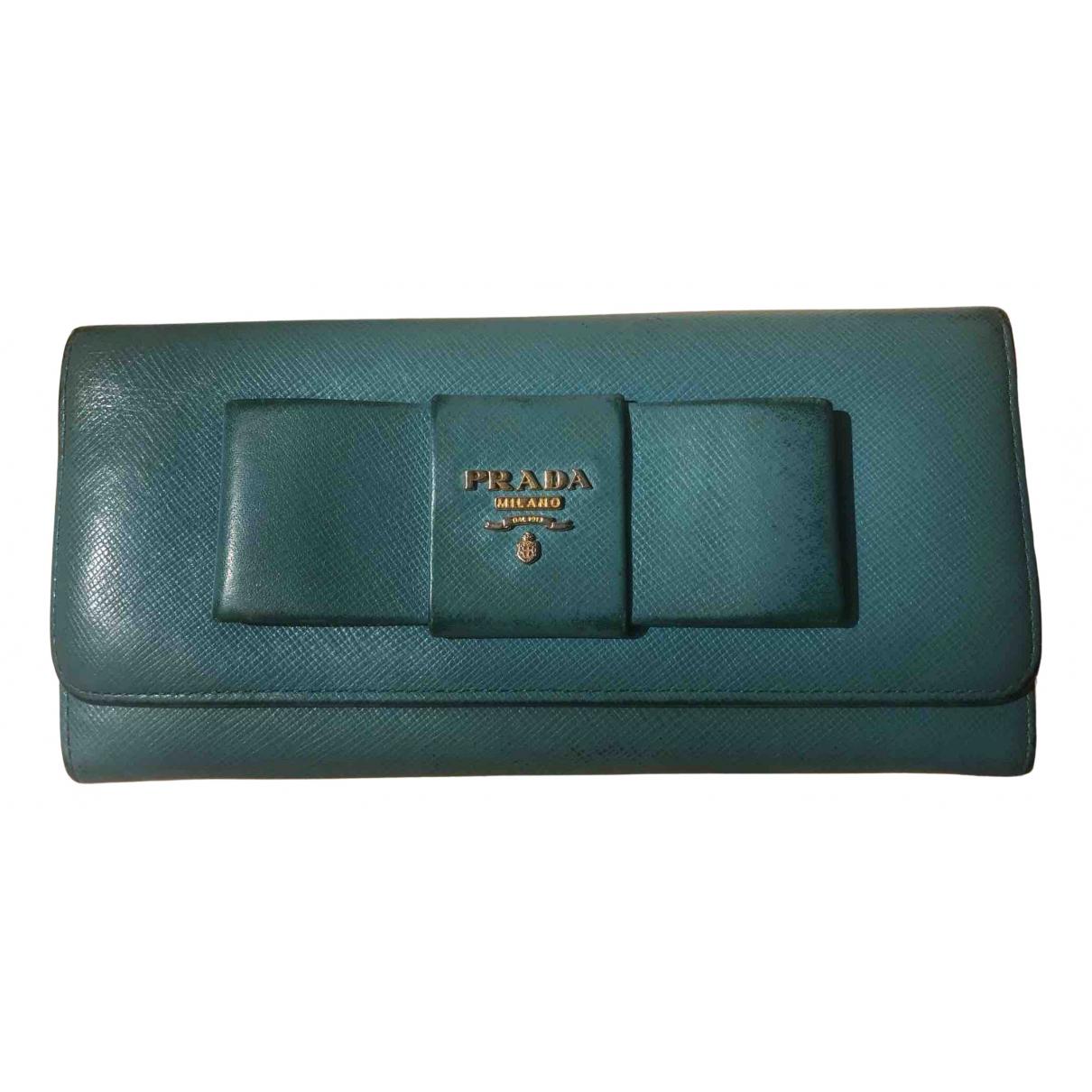 Prada N Turquoise Leather wallet for Women N