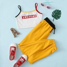Ringer Cami Top mit Buchstaben Grafik & Jogginghose mit Kontrast Taille Set