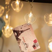 1pc String Light With 20pcs Heart Shaped Clip Bulb