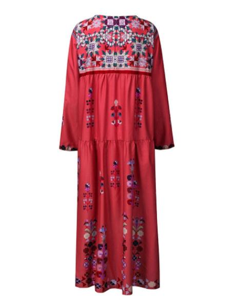Milanoo Vestido largo de manga larga con cuello en V de poliester Vestido largo hasta el suelo