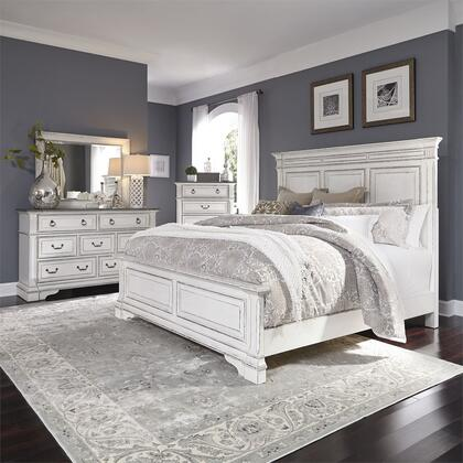 Liberty Furniture 520-BR-KPBDMC 4 Piece Bedroom Set with King Size Panel Bed  Dresser and Mirror  Chest in Wire Brushed Antique White