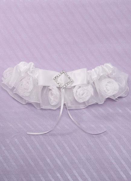 Milanoo Organza Bridal Garter Ivory Flowers Rhinestone Satin Ribbon Garter Lingerie