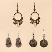 3pairs Vintage Round Drop Earrings