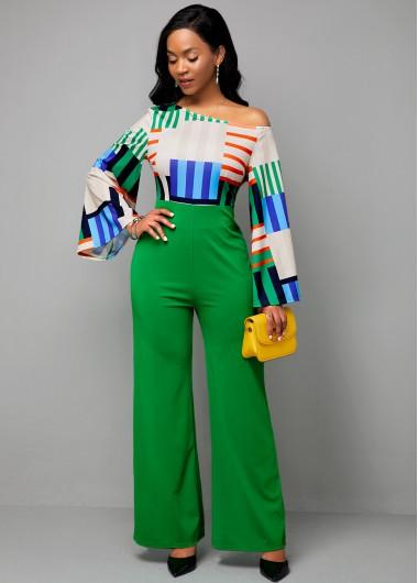 Women'S Green Skew Neck High Waisted Long Sleeve Wide Leg Formal Jumpsuit Rainbow Stripe Loose Flare Sleeve Spring Jumpsuit By Rosewe - 16