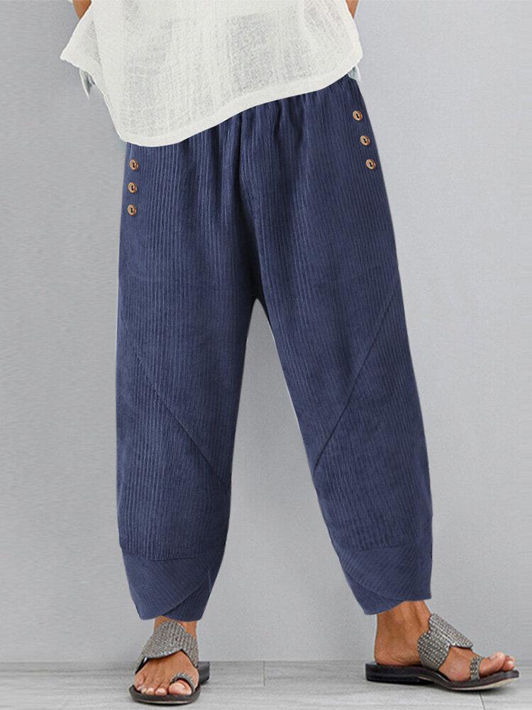Irreugular Hem Elastic Waist Vintage Corduroy Plus Size Pants