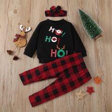 Sweatshirt mit Weihnachetn Muster & Hose & Kopfband mit Karo Muster