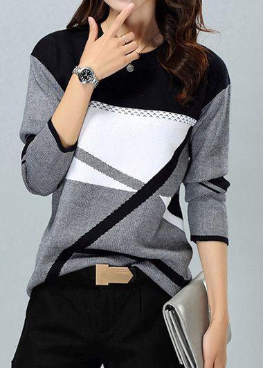 Rosewe Women Sweater Color Block Long Sleeve Printed - L