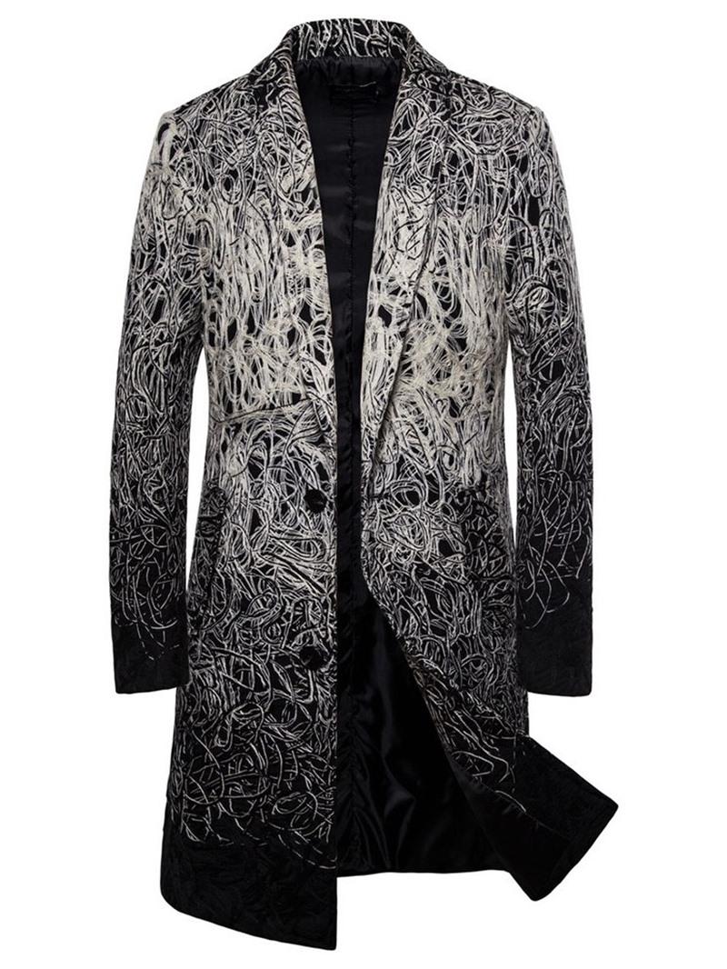 Ericdress Long Lapel Color Block A Line Men's Coat