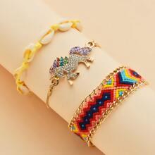 3pcs Girls Colorful Braided Bracelet