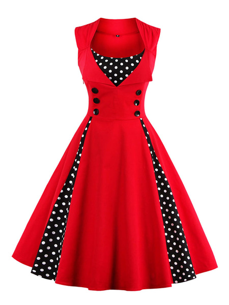 Milanoo Red Vintage Dress Polka Dot Square Neck Sleeveless Slim Fit Circle Pleated Skater Dress For Women