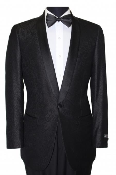 Men's Slim Fit Satin Trim Black paisley floral dinner jacket