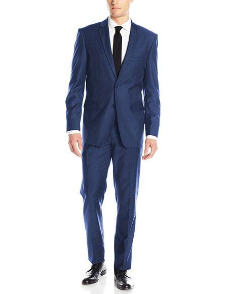 Mens 2 Button Blue Classic & Slim Fit Single Notch Lapel Suits