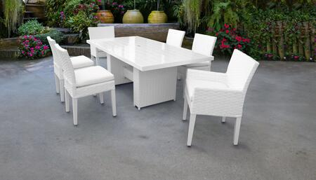 MONACO-DTREC-KIT-4ADC2DCC-WHITE Monaco 7-Piece Outdoor Patio Dining Set with Rectangular Table + 4 Side Chairs + 2 Arm Chairs - 2 Sail White